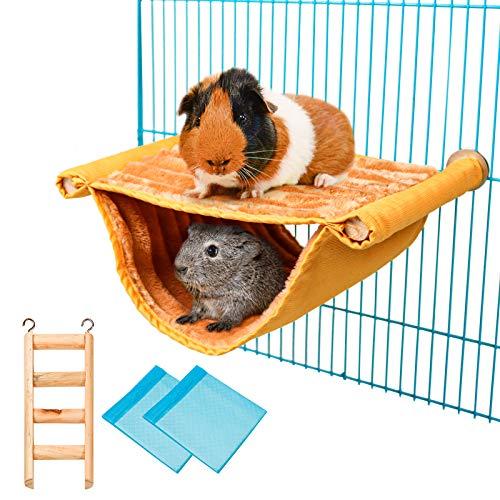 Hamster Hängematte Doppelstockbett, Meerschweinchen Käfig Zubehör, Mit Holz Hamsterleiter Und 2 Wickelunterlage, für Hamster, Chinchillas, Papageien, Zucker, Rennmaus, Eichhörnchen, Finch (Gelb)