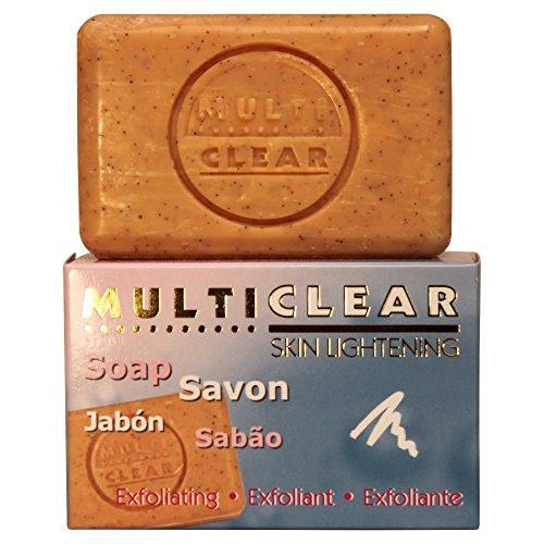 Jabón exfoliante aclarador. MULTICLEAR - 100g. Antimanchas y Antiacne. Con semilla de Melocotón. Combate puntos negros y células muertas