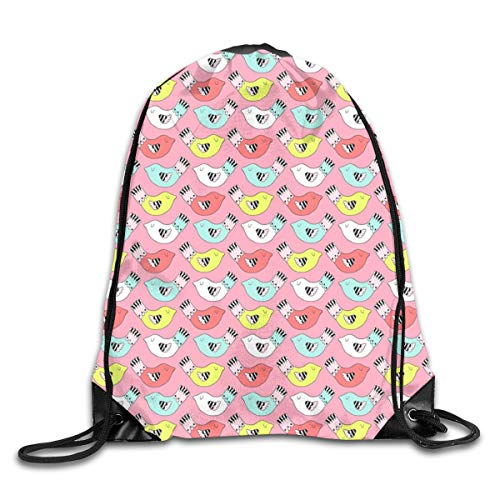 show best Bright Bird Drawstring Gym Bag for Women and Men Polyester Gym Sack String Backpack for Sport Workout, School, Travel, Books 14.17 X 16.9 inch