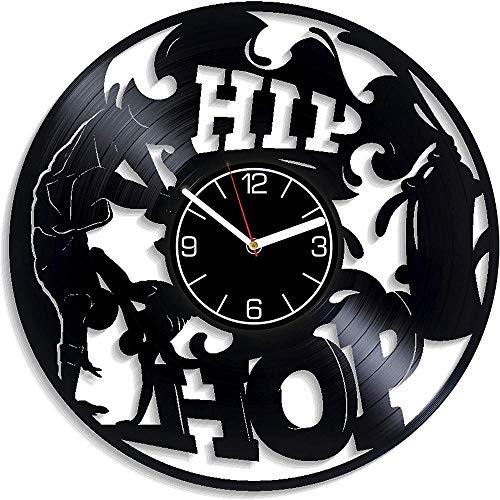 CNLSZM Reloj De Pared De Música con Disco De Vinilo Hip-Hop Reloj De Pared con Música Reloj De Pared con Música Reloj De Pared con Música Regalo Moderno De Hip-Hop-con Led