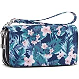 Double Zipper Long Clutch Wallet Cellphone Wallet for Women with Removable Wristlet Strap for Card, Cash, Coin, Bill