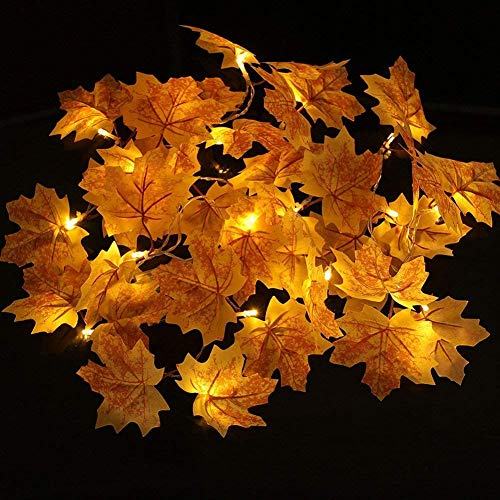 TOPCHANCES 98ft 20 LED Fall Maple Leaf Garland LED Lights Waterproof Autumn Fall Leaves Lighted Battery Powered LED String Lights for Thanksgiving Christmas Decorations Pattern 3#