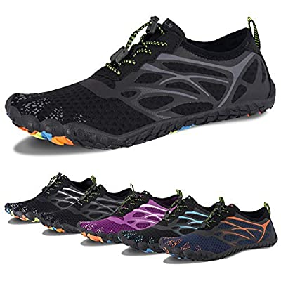 Water Shoes for Men and Women Barefoot Quick-Dry Aqua Sock Outdoor Athletic Sport Shoes for Kayaking, Boating, Hiking, Surfing, Walking (D-All Black, 46)