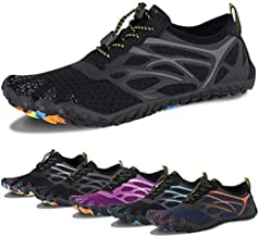 Water Shoes for Men and Women Barefoot Quick-Dry Aqua Sock Outdoor Athletic Sport Shoes for Kayaking, Boating, Hiking, Surfing, Walking (D-All Black, 43)