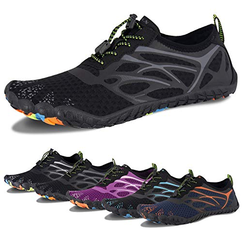 Water Shoes for Men and Women Barefoot Quick-Dry Aqua Sock Outdoor Athletic Sport Shoes for Kayaking, Boating, Hiking, Surfing, Walking (D-All Black, 42)