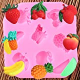 SKJH Moldes de Silicona 3D Fruta Fresa plátano Fondant Chocolate Molde Herramientas de decoración de Pasteles Dulces moldes de Resina de Arcilla polimérica