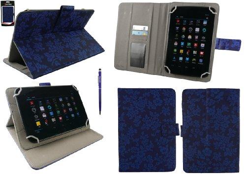emartbuy Medion LifeTab S8311 MD 98983 8 Zoll Tablet Universalbereich Vintage Floral Blau Multi Winkel Folio Executive Cover Wallet Hülle Schutzhülle mit Kartensteckplätze + Blau 2 in 1 Eingabestift
