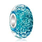 Uniqueen, perla in vetro di Murano, con nucleo in argento Sterling, per braccialetti con ciondoli , Argento, cod. Li_GBSS_TJYS194
