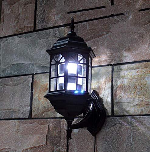 Poste de Barbier Shop luminoso, impermeable, giratorio, LED, vintage, para pared, exterior, lámpara montable, luces retro del Palacio Romano, 49 cm, color negro