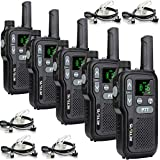 Retevis RB618 Walkie Talkie Recargable, PMR446 sin Licencia 16 Canales, Doble PTT, Linterna LED, VOX Mains Libres, SCAN CTCSS/DCS, Walkie Talkie con Auriculares (5 Piezas, Negro)