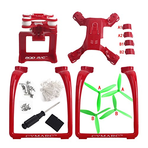 Propellers Props & Action Camera Frame & Lengthen Landing Gear Parts Set for MJX Bugs 2 B2 B2W B2C 2W 2C F18 Quadcopter Drone (Green Propellers)