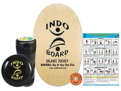 """INDO BOARD Original Training Package - Natural Finish - Balance Board for Fitness Training and Fun - Comes with 30"""" X 18"""" Deck, 6.5"""" Roller and 14"""" IndoFLO Cushion"""