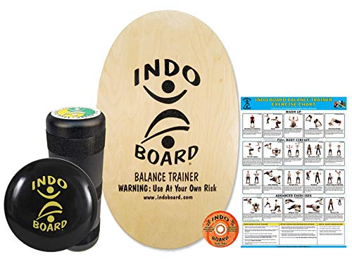 "INDO BOARD Original Training Package - Natural Wood Finish - Balance Board for Fitness Training and Fun - Comes with 30"" X 18"" Deck, 6.5"" Roller and 14"" IndoFLO Cushion"