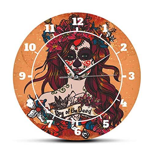 Reloj de Pared con diseño de Calavera de azúcar, Reloj de Pared silencioso sin tictac, Calavera para niña, día de los Muertos, decoración del hogar, Arte de Pared para niña Calavera
