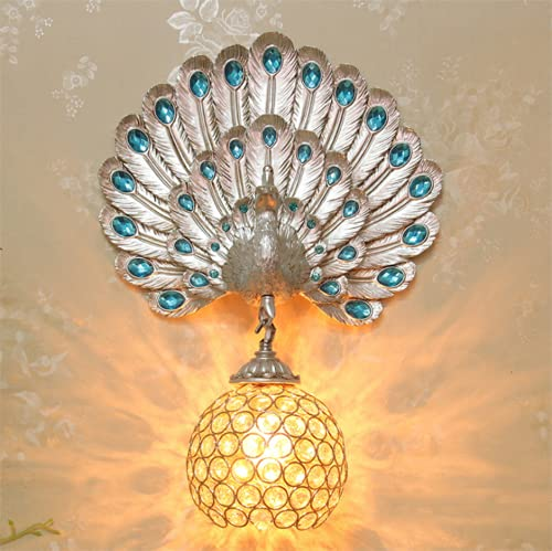 FMGR Aplique Pared Interior LED Lámpara De Pared Moderna para Salon Dormitorio Sala Pasillo Escalera,Lámpara De Pared De Pavo Real De Cristal,Plata