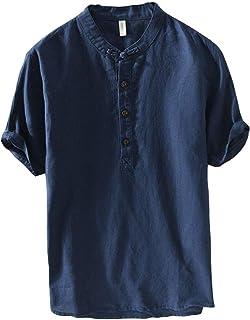 JJggsi4 Camicetta da Uomo T-Shirt Bicolore in Cotone e Lino Comoda e Traspirante Manica Lunga Bianco Arancione XXXXL-XXXXXL Blu Marino Nero