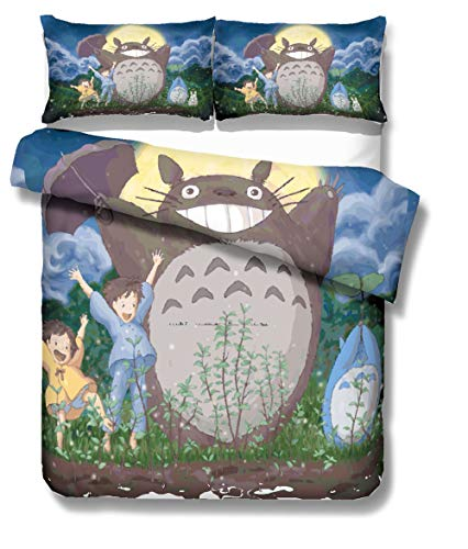 REALIN Bettbezüge Set Mein Nachbar Totoro Bettwäsche Cartoon Tier Anime Bett Sets 2/3/4Teilig Bettbezüge/Kissenbezüge/Bettlaken Für Kinder,Jungen,Mädchen (Single-140x210cm-3PCS,D)