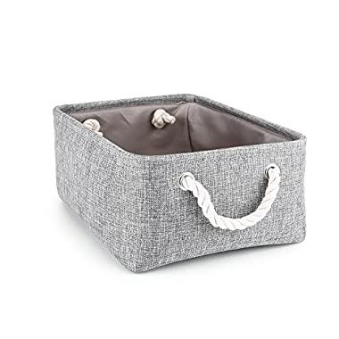 Storage Basket,Mee'life Foldable Linen Storage Bins Fabric Organizer with Handles to Organize Office Bedroom Closet Toys Laundry Gray(Middle).