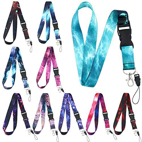 10 Pieces Starry Sky Neck Lanyard Detachable Neck Strap Safety Keys ID Holder Lanyards with Quick Release Buckle Colorful Starry Sky Lanyard for Badge ID Holder Phone Bag, 40 x 1 Inch