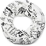 styleBREAKER Loop Schlauchschal mit Schrift Zeichen Muster im Destroyed Vintage Design, Schal, Tuch, Unisex 01017038, Farbe:Weiß