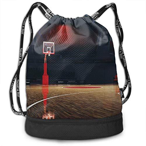 Shenguang coulisse zaini borse,Immagine di vuoto campo da basket sport Arena con pavimento in legno stampa,regolabile