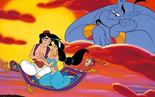 Película Aladdin Pintar Por Numeros Para Adultos Niños Pintura Por Números Con Pinceles Y Pinturas Decoraciones Para El Hogar -40 X 50CM