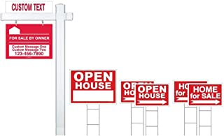 Red Deluxe 7-Pack For Sale By Owner Sign Bundle with Real Estate Post & H-Stakes - Open House & Home For Sale With Directional Arrows - Personalized Rider Sign for Yard Post - Double-Sided Lawn Signs