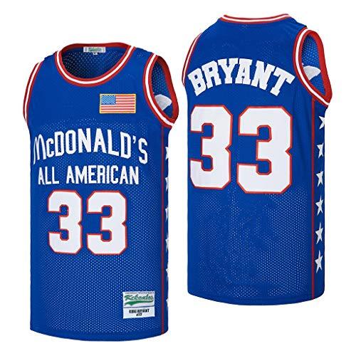 kekambas Men's All American 33 Bryant Basketball Jersey Stitched Blue Size M