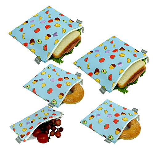Reusable Sandwich Bags Snack Bags - Set of 5 Pack, Dishwasher Safe Lunch Bags with Zipper, Eco...