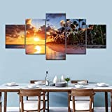 IIIUHU Cuadro en Lienzo Ráfaga matutina en la Playa de Cancún 150x80cm - XXL Impresión Material Tejido no Tejido Artística Imagen Gráfica Decoracion de Pared - 5 Piezas - Listo para Colgar