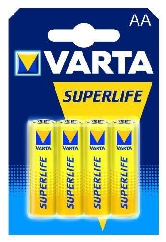 VARTA 10500406 - Superlife Zink-Kohle Batterie AA / R6 mit 1,5 Volt, 4er Set, Kapazität 1000 mAh, ideal für Niedrigstrom-Geräte