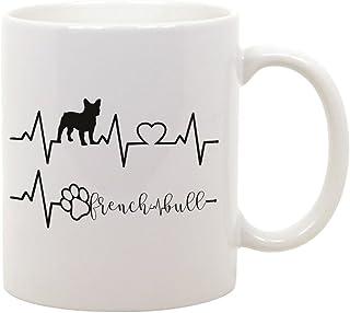 Idea Regalo Bulldog Francese capienza 50 cl French Bull Cane in Ceramica bubbleshirt Boccale da Birra elettrocardiogramma