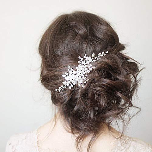 Simsly Braut Kristall Hochzeit Haarkamm Slides Silber Braut Kopfschmuck Haarschmuck Perle für Frauen und Mädchen