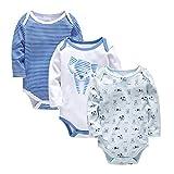 Bebé Body Pack de 3 - Mono Niños Mameluco Manga Larga para Niñas Pijama Trajes de Invierno Algodón Recién Nacido Pelele Ropa Perro Rosado 0-3 Meses