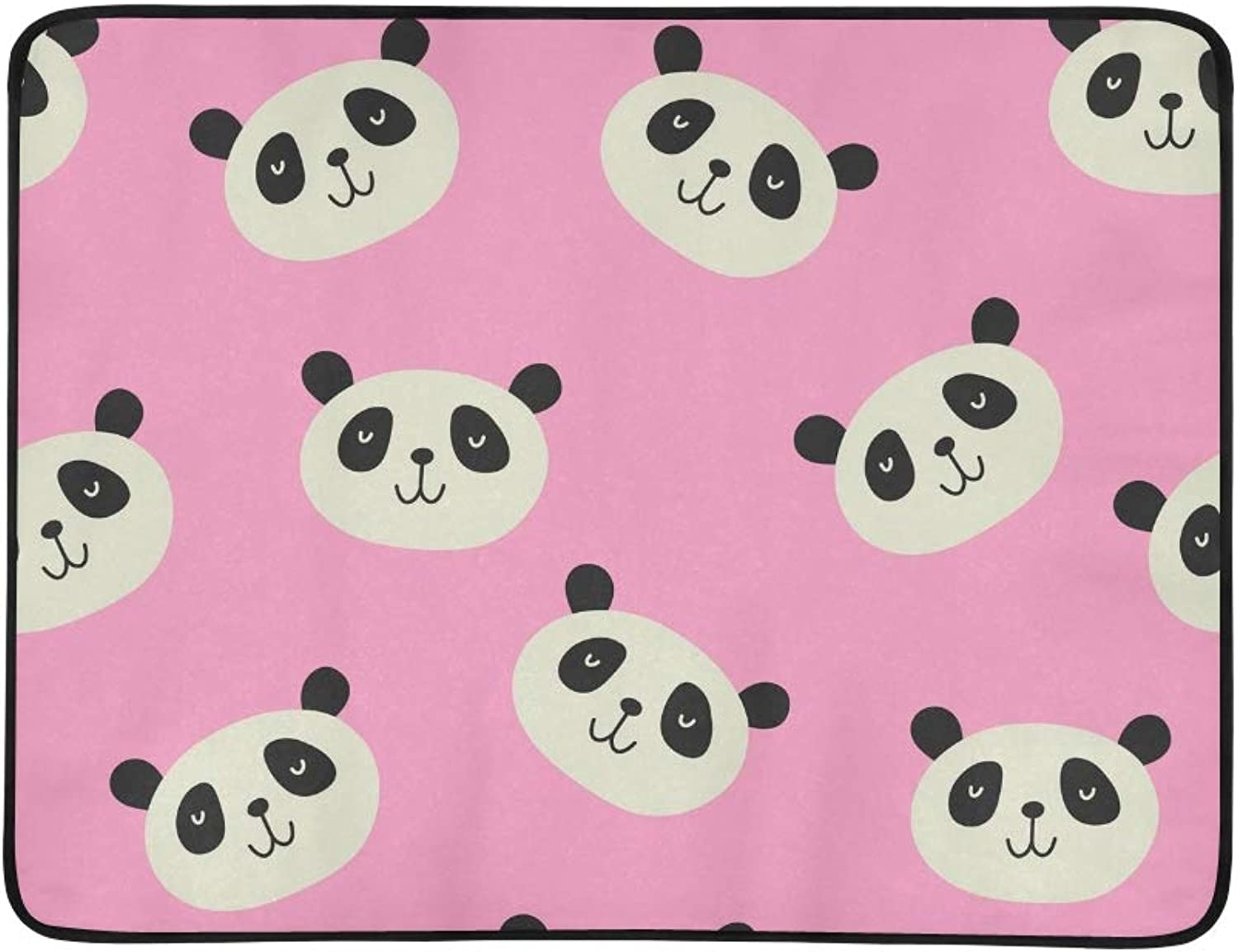 Panda Print Portable and Foldable Blanket Mat 60x78 Inch Handy Mat for Camping Picnic Beach Indoor Outdoor Travel