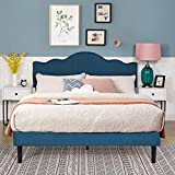 VECELO Full Size Upholstered Platform Bed/Mattress Foundation with Height Adjustable Headboard, Metal Frame/Strong Slat Support & Quick Assembly