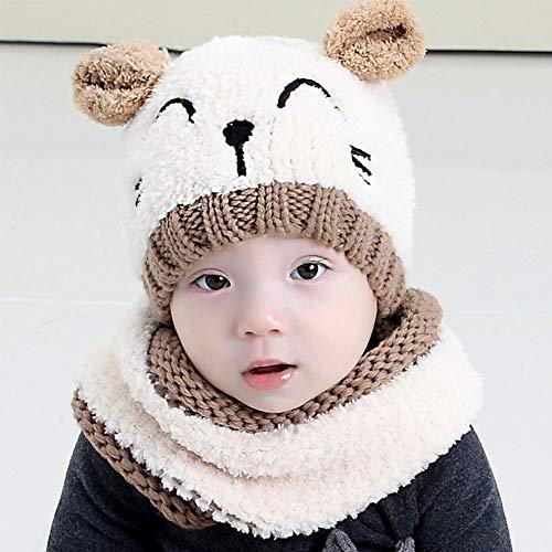 Bearbro Chapeau Bonnet Enfant Hiver Bébé,Ensemble Set de 3 pièces Bonnet Chapeau Echarpe Gant...