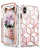 Hasaky Case for iPhone Xs Case,iPhone X Case 5.8 Inch,Dual Layer Hybrid Bumper Girls/Women Marble Design Soft TPU+Hard Back Heavy Duty Anti-Scratch Shockproof Protective Phone Case -Pink/Rose Gold