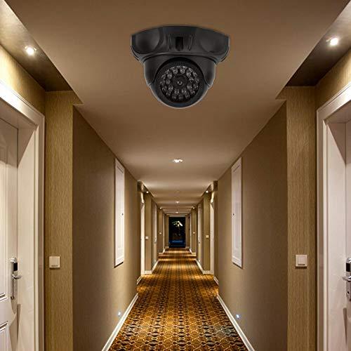 Cámara de seguridad de simulación falsa negra, bajo consumo de energía de rotación de 360 ° para estacionamientos, bibliotecas, oficinas