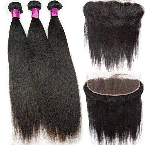 NOBLE QUEEN Hair Trame de cheveux humains vierges naturels raides d'une oreille à l'autre avec dentelle frontale de cheveux brésiliens 10,2 x 33 cm (45,7 cm, 45,7 cm, 50,8 cm + frontal 2,5 x 35,6 cm)