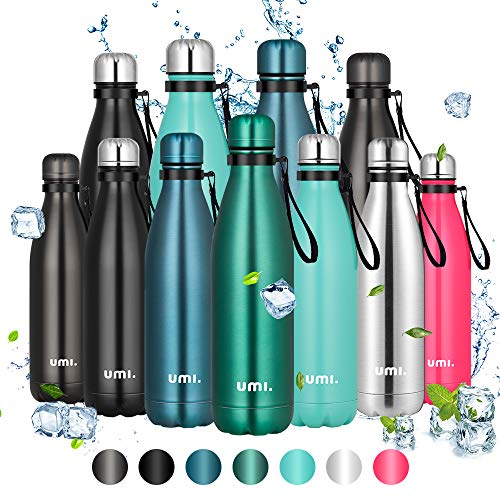 Umi. by Amazon - Botella Agua Acero Inoxidable, Termo 500ml, Sin BPA, Islamiento de Vacío de Doble Pared, Botellas Frío/Caliente, Reutilizable para Niños, Colegio, Sport, Bicicleta (Verde oscuro)