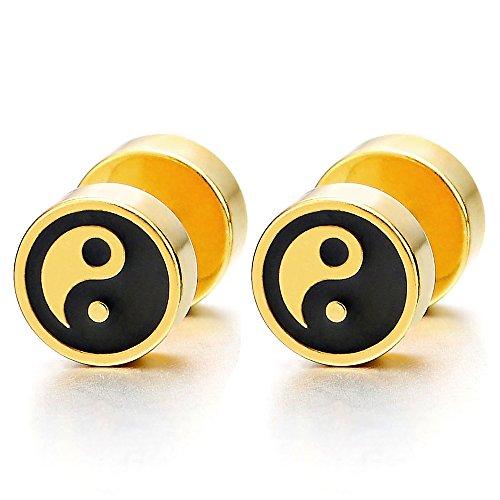 Oro Negro Yin Yang Enchufe Falso Fake Cheater Plugs Gauges, Pendientes de Hombre Mujer, Aretes, Acero Inoxidable, 1 Par