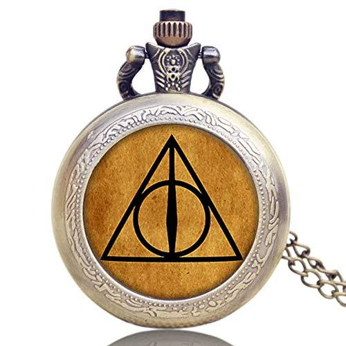 Harry Potter Taschenuhr Bronze Steampunk Luna Dreieck die Heiligtümer des Todes Männer Frauen Jungen Halskette Anhänger Relogios Small Geschenke