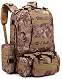 ZJR Outdoor Mountaineering Backpacks Unisex Travel Backpack Tactical Waterproof Bag Multifunction Camouflage Hiking Backpack (E)