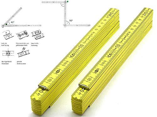 2 Stk. Adga 250 plus Meterstab gelb 2m Holz Winkelübersicht 90 180 Grad Rastung gerade Anreißkante