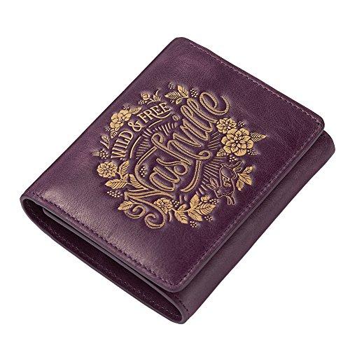 Teemzone Tríptico Cartera de Mujer Cuero Monedero de Monedas Cremallera Calidad Tarjetero Billetera (Morado)