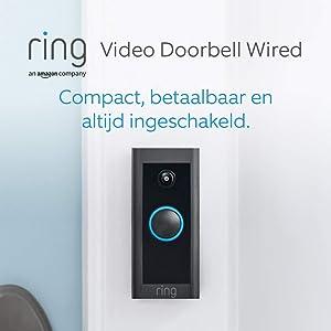 Maak kennis met de Ring Video Doorbell Wired van Amazon, met HD-video, geavanceerde bewegingsdetectie en bedrade installatie | Met een gratis proefabonnement van 30 dagen op Ring Protect Plan
