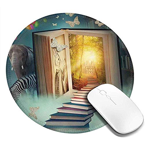 Ronde muismat, boven naar het Magic Book Land Forest met ballon Zebra olifant vlinders, anti-slip Gaming Mouse Mat