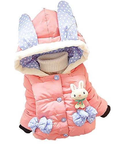 Sallyshiny bébé Fille Lapin Manteau Veste Sweat à Capuche Enfant Hiver Chaud Vêtements Tenue Combinaison d'hiver pour Chien - Rose -