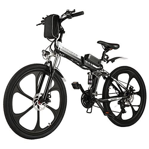 """ANCHEER Electric Bike Folding Electric Mountain Bike with 26"""" Magnesium Alloy 6 Spokes Integrated Wheel, Premium Full Suspension and 21 Speed Gears"""